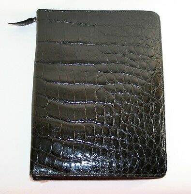 $1,500 Vintage Authentic BLACK CROCODILE Organizer Day Planner Fully Zippered