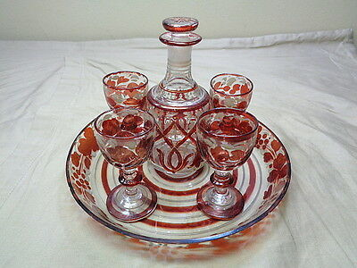 Antique Cordial Decanter Set Red Glass w 4 Goblets Bottle Tray