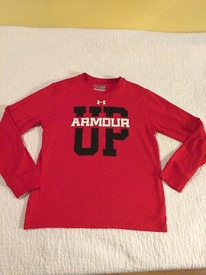 Under Armour Heat Gear Loose Fit Red Long Sleeve Shirt Size Youth Medium