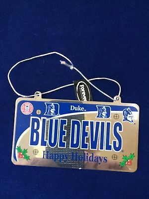 Duke Blue Devils Happy Holiday License Plate Christmas Ornament and Free Gift