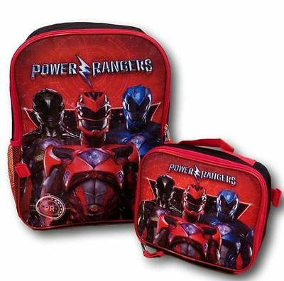 Power Rangers 16' Backpack with Detachable Insulated Lunch Bag-Red
