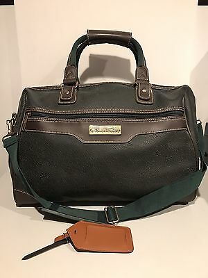 Oscar De La Renta Gym Travel Duffle Bag Green & Brown Leather Vintage Luggage!