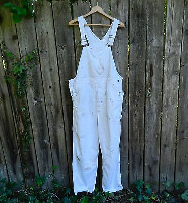 Vintage LEE Sanforized USA Union Made White Painters Bib Overalls Workwear