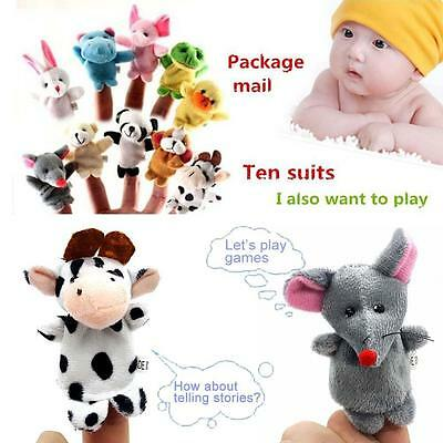 Family Finger Puppets Cloth Doll Baby Kids Educational Hand Animals Toy Story W!