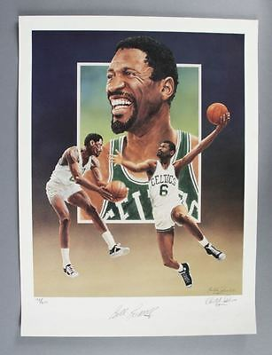 "Bill Russell Signed Christopher Paluso Lithograph ""198/600″ Signed by Russell..."
