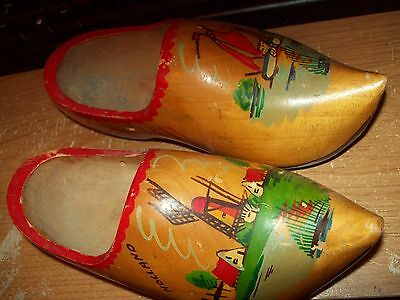 Holland Set Of Decorative Wooden  Shoes Painted Holland Scenery On Tops