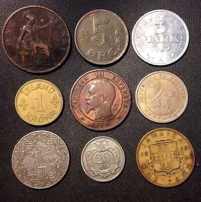 Old World COIN LOT - 1856-1940 - 9 COLLECTIBLE COINS - Lot #J22