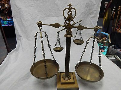 Vintage Brass Balance Scale Of Justice With Marble Vase Double Scale