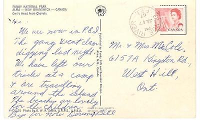 1967 Clyde River, P.E.I. CDS Cancel on Fundy Bay PPC 4c Centennial