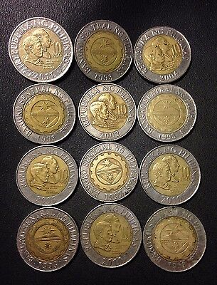 Old Philippines Coin Lot - BI-METAL 10 PESOS - 12 Great Coins - Lot #J22