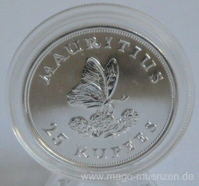 Mauritius 25 Rupees 1975 15 Years WWF Swallowtail Silver BU