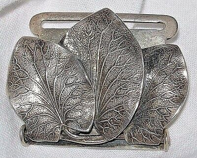 George Shiebler USA Leaf Belt Buckle Sterling Silver Art Nouveau Signed #2504