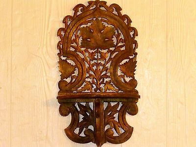 """21"""" ANTIQUE Hand Carved MAPLE LEAF Folding Wood WALL SHELF Candle Lamp DISPLAY"""
