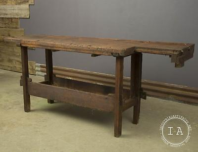 Vintage Woodworkers Bench Kitchen Table Counter Top