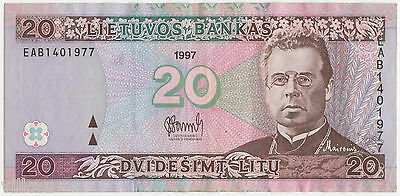 20 Litas Early Banknote of Lithuania - 1997 Uncirculated