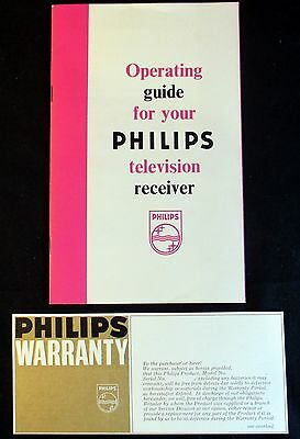 Vintage Philips Television Receiver Tv Operating Guide & Warranty Card