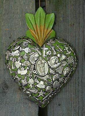 Lime Green Sacred Heart Wood Milagro Covered Folk Art Michoacán Mexico Love Boho
