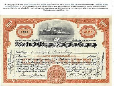 Stk-Detroit & Cleveland Navigation Co. 1925 Orange 100 sh. v/City of Detroit