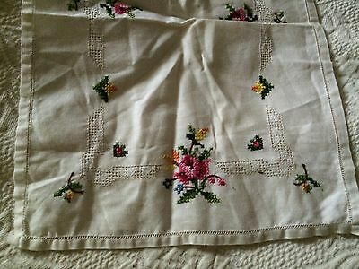 Swedish Antique Linen Table Top Rectangle Inset Lace Embroidered Flowers Lovely