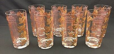 RARE CULVER CAPRI PINK BIRDCAGE Birds Vintage Bar Glasses Barware Mad Men MCM