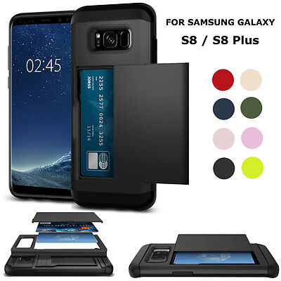 Luxury Shockproof Card Slots Pocket Pouch Case Cover For Samsung Galaxy S8 Black