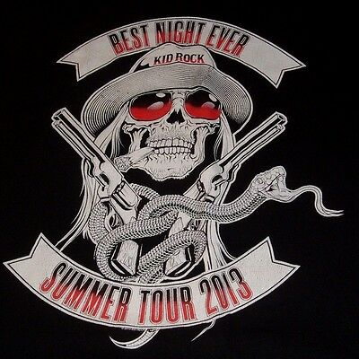 Kid Rock 2013 Best Night Ever Concert Tour T- Shirt Size Small 2 sided EUC