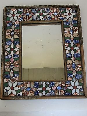 Antique  Pique-assiette Folk Art ~ Pottery Shard Mosaic Frame with Mirror