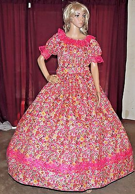 CIVIL WAR PIONEER ANTEBELLUM VICTORIAN Darker Pink Floral Costume Dress Gown
