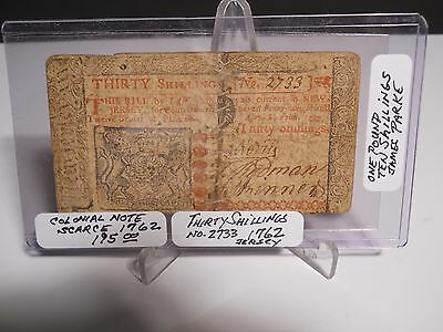 """1762 New Jersey 30 Shillings Colonial Note """" SCARCE """" #2733 One Pound"""