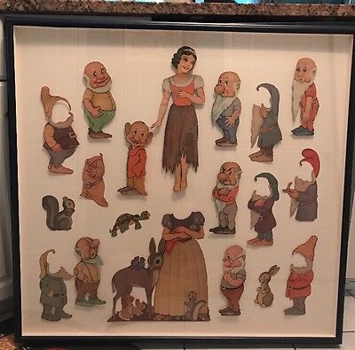 1938 Walt Disney Snow White & 7 Dwarfs Paper Cut Out Dolls Preserved In Frame