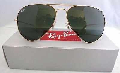 NIB Genuine Ray Ban 3026 L2846 Aviator Gold Large Sunglasses G-15 Lens 62mm