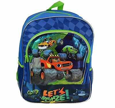 """Nickelodeon Blaze And The Monster Machines Boys 16"""" Blue Backpack-Let's Blaaaze!"""