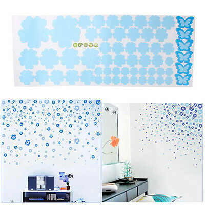 108PCS Flowers Wall Art Decal Sticker Removable Mural Home Decor Blue*