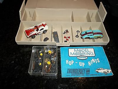 Aurora slot cars and pit case with parts  1960s