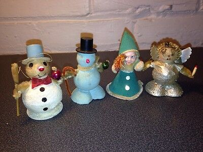 Four Spun Cotton Paper Mache Christmas Snow Men Angels Made In Japan Mid-Century