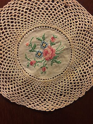 Swedish Antique Miniature Embroidered Doily Lace Victorian Beautiful Quality