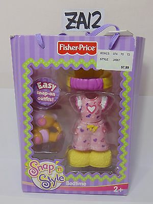 2005 Fisher Price Snap 'n Style Bedtime Set J4968 NIB New Clothes