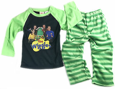 New Boys Green The Wiggles Tshirt Pants Winter Pj Pyjamas Sleepwear Pjs