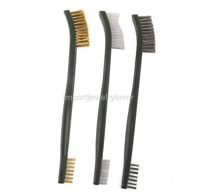 set of 3pcs Wire Brush Set Brass Nylon Stainless Steel Bristle Cleaning Tool