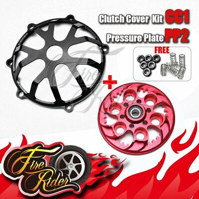 Black Red CNC Billet CC02 Clutch Cover Kit Ducati Monster 750 900 ie