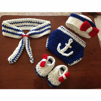 Newborn Baby Girls Boys Crochet Knit Costume Photo Photography Prop Outfit #19