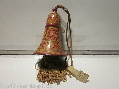 Vintage Made In India Hand Painted Lacquered Finish Wood Decorative Bell Floral