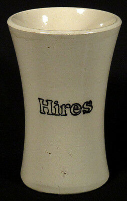 Early 1900s Antique HIRES Root Beer ADVERTISING MUG Stoneware Soda Fountain N/R!