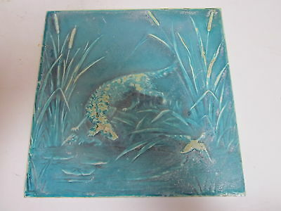 "Antique Teal Glazed 8-1/4"" Square Minton Hollins Co Wall Tile Hunting Dog & Duck"