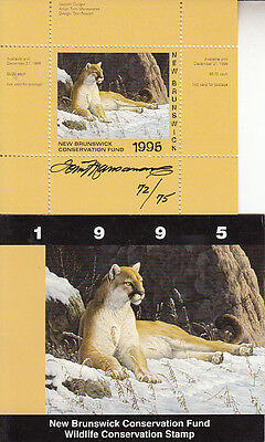 Canada New Brunswick MNH Conservation SIGNED 1995 Van Dam NBW2a   Value $ 36.00