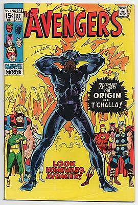 THE AVENGERS #87 | Vol. 1 | Origin of Black Panther T'Challa | 1971 | FN/VF