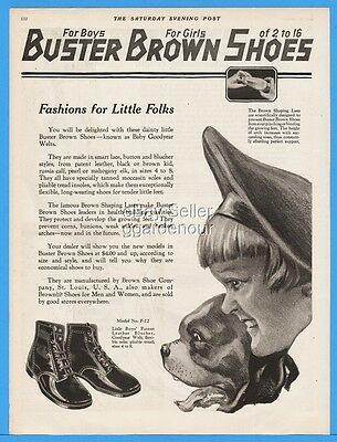 1922 Buster Brown Little Boys Patent Shoes St Louis MO Vintage Fashion Style Ad