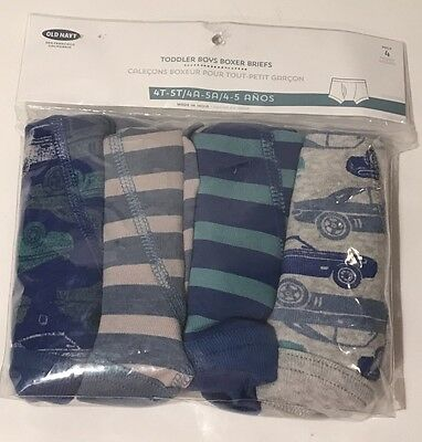 OLD NAVY Boys Boxer Briefs Underwear 4T 5T Toddler 4 Pack Cars Stripes Blue NEW
