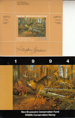 Canada New Brunswick MNH Conservation SIGNED 1994 Van Dam NBW1a   Value $ 40.00