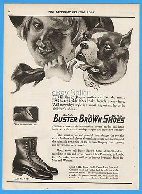 1922 Buster Brown Girls Boots Patent Lace Up St Louis MO Vintage Fashion Ad